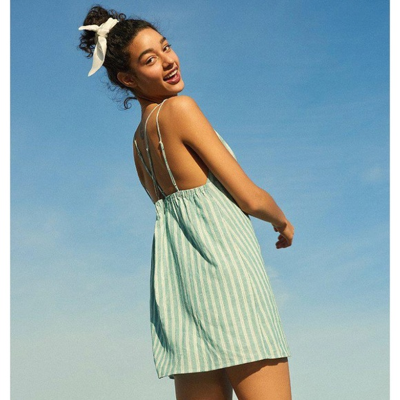 6227214885 UO Breezy Plunging Strappy Linen Mini. M 5b52aafd34e48aa7b21b5932. Other  Dresses you may like. Urban Outfitters ...